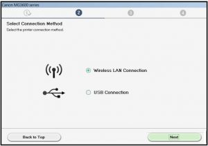 canon wireless connection set up
